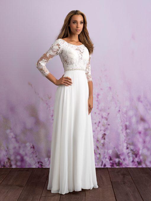 Brudklänning, brudkjole, Brudklänning i spets, Brudklänning i Mikado, Allure Bridal, Allure Romans