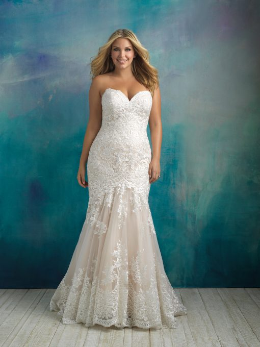 Brudklänning, brudkjole, Plus size, Curves, Brudklänning i spets Allure Bridal, Allure Woman